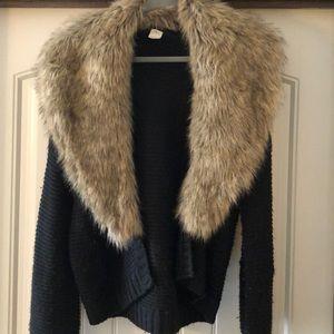 Faux Fur Collared Cardigan